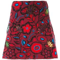 Kenzo 'Shadow Flowers' mini skirt ($285) ❤ liked on Polyvore featuring skirts, mini skirts, red, a line mini skirt, short red skirt, flower skirt, red skirt and red a line skirt