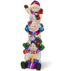 """National Tree BG-19152A 61"""" Stacking Snowmen Family With 50 Multi LED"""