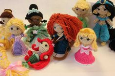 """Disney Princess Amigurumi...does it get cuter than this? From """"Eye for Cuteness by Sahrit"""" on Etsy."""