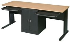 Computer Desk for Two People | Two person office desk pictured: Dual User Ergonomic Computer ...