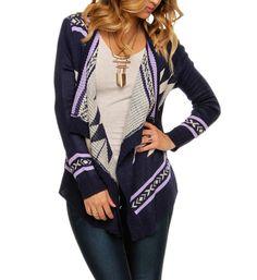 Sale-purple Tribal Easeful Cardigan from Windsor