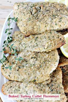 Baked Turkey Cutlet Parmesan – Can't Stay Out of the Kitchen Turkey Cutlet Recipes, Cutlets Recipes, Ground Turkey Recipes, Parmesan Recipes, Baked Chicken Recipes, Meat Recipes, Turkey Tenderloin, Turkey Cutlets, Low Calorie Baking