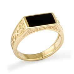 Black Coral Ring in 14K Yellow Gold -