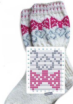 Siskorusettisukat Knitting Wool, Knit Mittens, Knitting Socks, Baby Knitting, Fair Isle Knitting Patterns, Knitting Charts, Knitting Stitches, Crochet Shoes Pattern, Crochet Patterns