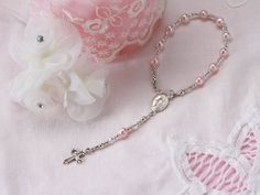 Sterling Silver Baby Rosary in Pink for by TinySilverTreasures, $24.99