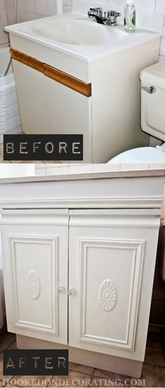 How to Easily Transform an Outdated Bathroom Vanity Cabinet Floating Bathroom Vanities, Black Vanity Bathroom, Bathroom Vanity Makeover, Bathroom Vanity Cabinets, Small Bathroom, Bathroom Ideas, Washroom, Formica Cabinets, Kitchen Cabinets