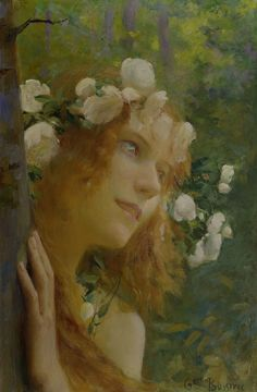 ⊰ Posing with Posies ⊱ paintings of women and flowers - Gaston Bussiere, Nymph