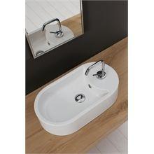 Scarabeo Seventy Toppmontert servant 410x220 mm, med blanderhull, Hvit En Stock, Bathroom Furniture, Sink, Bathtub, Architecture, Sink Tops, Standing Bath, Arquitetura, Vessel Sink