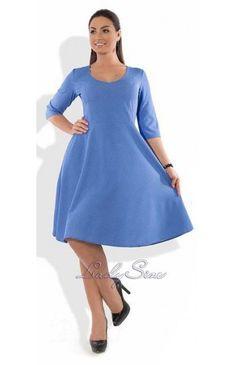 Элиса платье голубое принтованное в горошек
