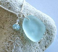 Sea Glass Jewelry Light Sea Foam Aqua Necklace Aquamarine Crystal Sterling Silver. $30.00, via Etsy.