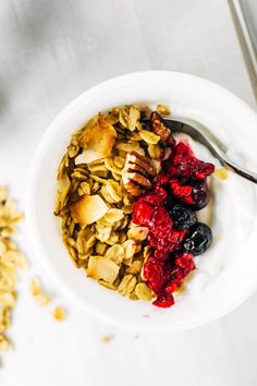 Naturally Sweetened Buckwheat Granola with Toasted Coconut ~ Loody's Kitchen Buckwheat Muffins, Bulk Food, Toasted Coconut, Apple Crisp, Morning Food, Fresh Fruit, Granola, Tasty, Breakfast