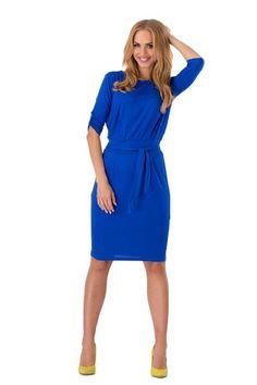 Futuro Fashion® Women's Shift Dress With Belt Boat Neck 3/4 Sleeve 8986: Amazon.de: Bekleidung