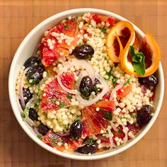 Blood orange, israeli couscous and olive salad