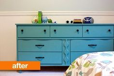 Before & After: A New Old Dresser | Apartment Therapy Teal chalk paint