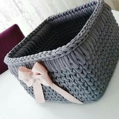 30 Cute Crochet Gifts Ideas for Loved Ones Diy Crochet Basket, Crochet Bowl, Crochet Basket Pattern, Knit Basket, Crochet Gifts, Crochet Yarn, Crochet Patterns, Crochet Storage, Crochet Decoration