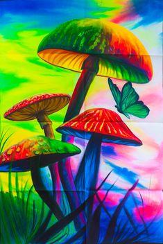 Magic Mushrooms UV Painting - handmade on order blacklight active psychedelic india multiple sizes Mushroom Paint, Mushroom Drawing, Hippie Wallpaper, Trippy Wallpaper, Psychedelic Art, Mushroom Wallpaper, Trippy Mushrooms, Trippy Drawings, Trippy Painting