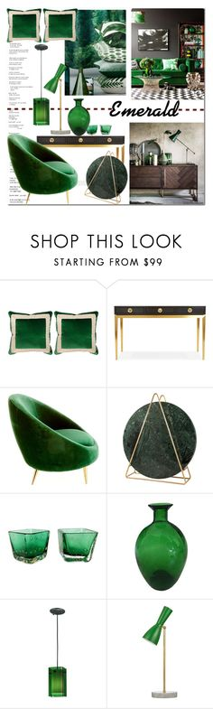 """""""Emerald Decor Inspo"""" by arethaman ❤ liked on Polyvore featuring interior, interiors, interior design, home, home decor, interior decorating, Miles Talbott, Jonathan Adler, Meyda and GetTheLook"""