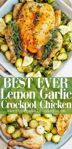 Slow Cooker Lemon Garlic Chicken is a seriously delicious and easy recipe! Put the chicken in the slow cooker and head off to work then dinner will be ready when you come home. #slowcooker #crockpot #chicken #easy #recipe #slowcookerchicken #lemonchicken #garlicchicken #crockpotchicken #slowcookerlemongarlicchicken @sweetcaramelsunday