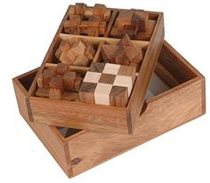 3-in-One Wooden Puzzle Games Set - 3D Puzzles for Teens and Adults - Includes Wood Interlocking Blocks, Diagonal Burr, and Snake Cube in Storage Box by ShalinIndia by ShalinCraft