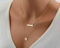 Personalized Layered Necklace / Name Necklace Set / Initial Disc / Small Bar / 14k Gold Fill Chain, Sterling Silver or Rose Gold Filled