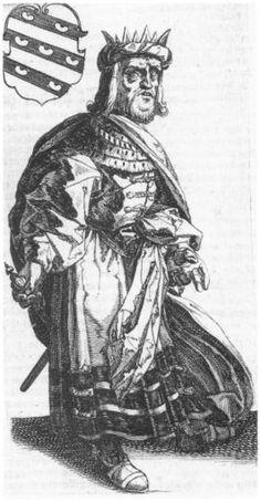 Afbeelding van koning Redbad, uit P. Winsemius, Chronique ofte Historische geschiedenisse van Frieslandt