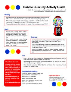 Bubble gum day Activity Guide....This will go great with my TPT bubble gum project!!