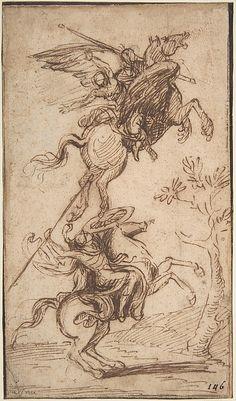 The Sorcerer Atlante Abducting Pinabello's Lady (Ariosto, Orlando Furioso, canto II, 38) - Nicolas Poussin