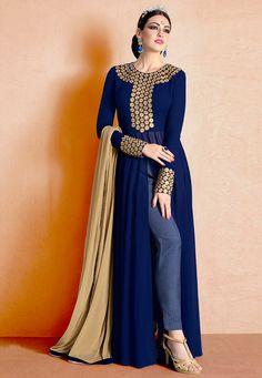 Buy Embroidered Georgette Abaya Style Suit in Navy Blue online, work: Embroidered, color: Navy Blue, usage: Party, category: Salwar Kameez, fabric: Georgette, price: $79.23, item code: KCH40, gender: women, brand: Utsav