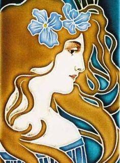 Tile with Art Nouveau maiden, designed by Carl Luber, manufactured by Johann von Schwarz