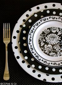 I love this look - would be great for outdoors by the pool...Black & White Melamine Dinnerware