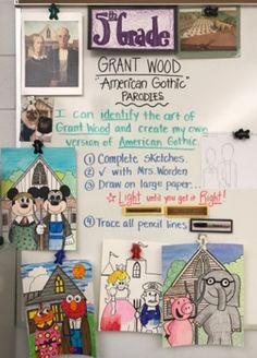 "5th grade artists are learning about Grant Wood's life and work. We talked about why ""American Gothic"" has become so famous. We d..."