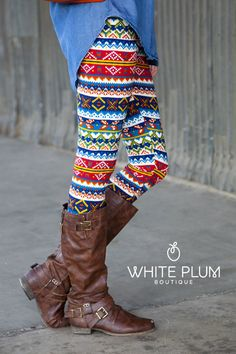 Tribal Multi-Color Leggings | White Plum Boutique  take 15% off all leggings until Sunday with the code: showsomeleg