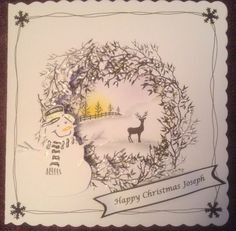 Christmas card using Card-io stamps, Marianne dies some Liquid Pearls and Glossy Accents