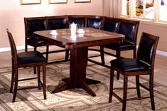 Inland Empire Furniture LivingStone II Tobacco Oak Solid Wood  Leather with marble Inserts 6 Piece Counter Height Dining Set with Bench -- Be sure to check out this.