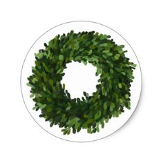 Hand Painted Boxwood Wreath Holiday Sticker - holidays diy custom design cyo holiday family