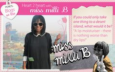 We asked @Milisuthando Bongela - www.missmillib.blogspot.com - what ONE thing she would take to a desert island. #Beauty Lip Moisturizer, Moisturiser, Desert Island, Dry Lips, Our Love, Deserts, Website, Blog, Beauty