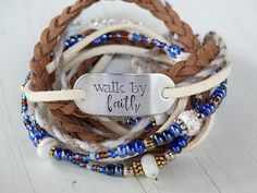 Walk by Faith WOMEN'S LEATHER WRAP Bracelet Stamped Quote Bracelet Beaded Multi Wrap Bracelet Braided Leather Bracelet Christian Bracelet