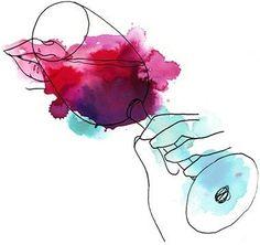 Painting glass watercolor water colors ideas for 2019 Wine Painting, Painting & Drawing, Watercolor Paintings, Painting Inspiration, Art Inspo, Watercolor Water, Vides, In Vino Veritas, Watercolor Illustration