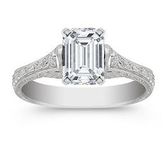Vintage Engagement Ring shown with diamond center; your choice of ruby, sapphire or diamond center #ShaneCoLBD