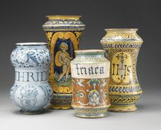 Four Italian maiolica albarelli, 16th/17th century | Lot | Sotheby's