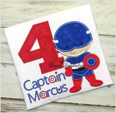 Personalized American Superhero Birthday Shirt- Superhero Birthday Party- Boys…