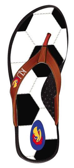 Kansas Jayhawks Soccer Flip Flops