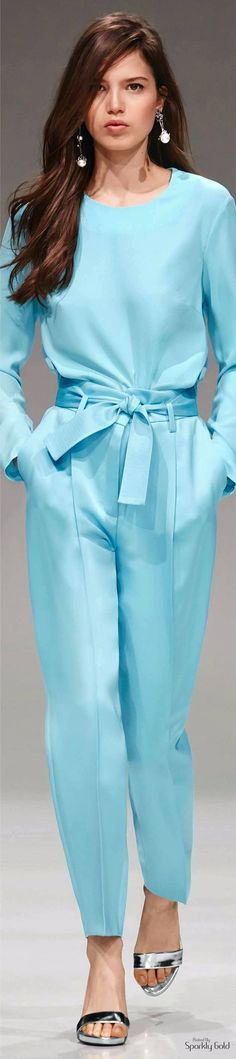 Escada Resort 2017 cyan turquoise jumpsuit @roressclothes closet ideas #women fashion outfit #clothing style apparel