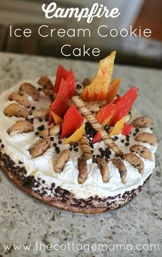 Campfire Birthday Cake - Ice Cream Cookie Cake from The Cottage Mama ...
