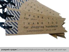 gift tags - personalized chipboard pennant flag - with washi tape - set of 20. $17,00, via Etsy.