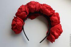 """Купить Ободок-венок """"Роксолана"""" (красный) - ярко-красный, ободок с цветами, венок с цветами"""