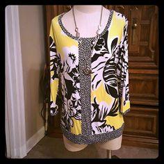 Hyper yellow shirt Gently worn beautiful yellow shirt!!! Quarter inch sleeves very breezy  stretch material. Dana Buchanan Tops