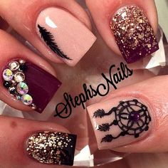Amazing Burgundy and Nude Nail Polishes Combo. Ideas For Dream Catcher Charming Nails #naildesignsjournal #nails #dreamcatcher