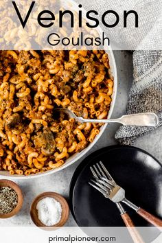 This ground venison goulash recipe is full of flavor and super simple – perfect for a weeknight dinner! Ground deer meat, savory sauce, spices, and cheese, combined with elbow macaroni for a deliciously easy ground venison recipe. Ground Deer Recipes, Ground Venison Recipes, Recipes For Deer Meat, Easy Venison Recipes, Wild Game Recipes, Venison Goulash Recipe, Venison Meat, Goulash Recipes, Sausage Recipes