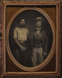ca. 1850's, [daguerreotype portrait of a California gold miner shaking hands with a prominent western gold rush gentlemen] via Heritag...